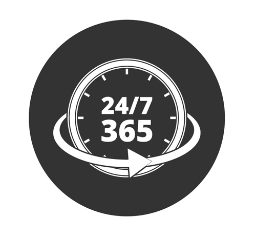 24 Hours per day / 365 days per year service graphic icon in black